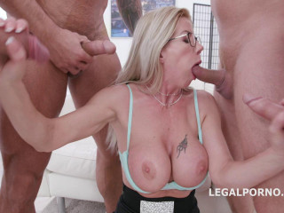 Busty Milf Lara De Santis Gets Hard Double Anal Orgy With Many Huge Cocks