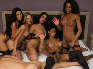 Gang-bang & Open Bottom For Transsexual Jizm