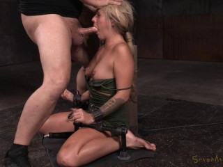 Sumptuous ash-blonde restrained on vibrator and facefucked