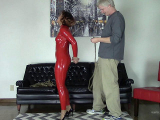 Red Latex Catsuit and Jute Rope