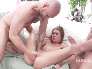 Alexis Crystal does triple penetration for the first time with four monster cocks