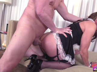 Jeanne - Mature Sissy French Maid Gets Fucked