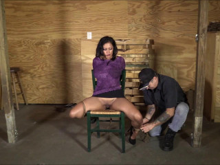 Brutally Breast Bound In A Legs Spread Chair Tie