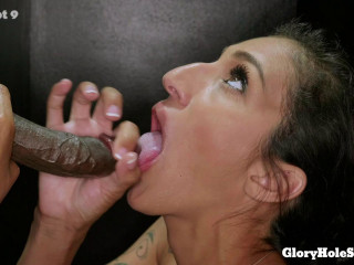 First Glory Hole - Cock Sucking Machine Brunette