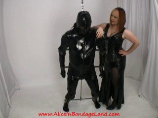 Metal Suspension Bondage - Scavengers dame - Rubber Female domination Cock ball torture