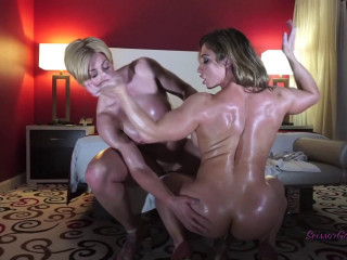 Princess Ecstasy & Brandy flash off their muscles, lubricant down and masturbate you