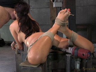 English rose Ava Dalush bound down on humping machine