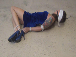 Bound Party Girl  To Strip And Cuff Herself