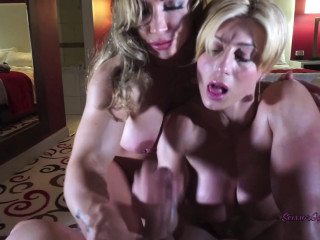 Queen Ecstasy & Brandy demonstrate off their muscles, oil down and fap you