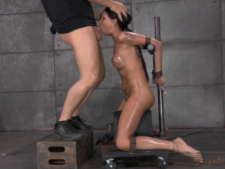 Raven Bay bound on movable sybian, brutal face fucking