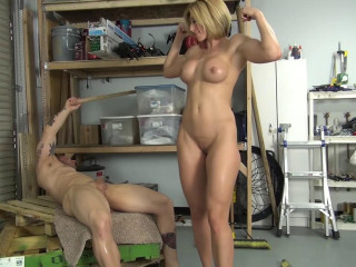 Princess Ecstasy struggles yam-sized bufff guy, masturbates his cock, and gets penetrated