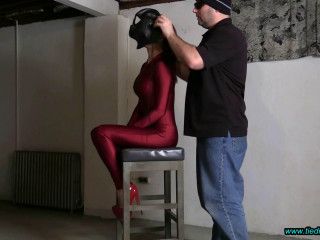 Sarah Brooke...Hooded and Tormented in the Basement Dungeon!