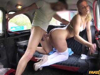 Nurse in sexy lingerie has car sex