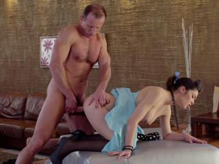 Suzy Bell - Busty fancy Czech pinup stunner gets jizm on pussy in elegant fuck (2017)