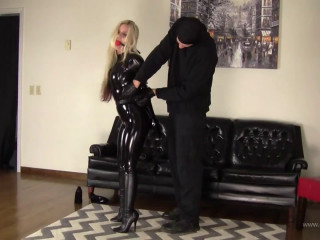 Bondage, domination and hogtie for beautiful model in latex