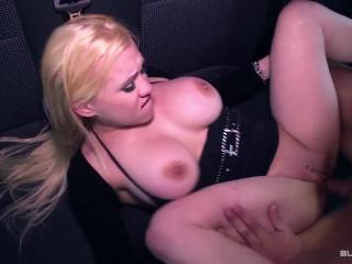 Busty blonde German babe Celina Davis gets cum on tits in wild bus fuck