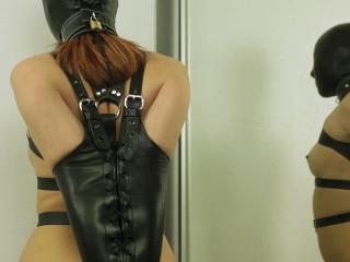 Leather Corset Plus Black Bondage mask And Armbinder (2014)