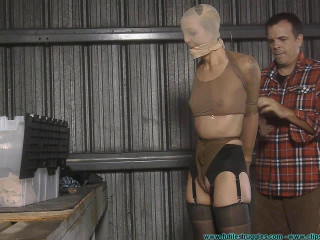 Snooty Sales Lady Bound with Pantyhose and Pied - Part 1