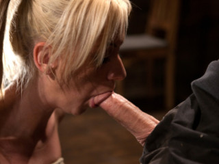 Hot blond with big tits, pony tails, and braces. - Face fucked, hogtied & made to cum like a whore.
