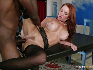 Fabulous Redhead Cougar Pounds On The Kitchen Table