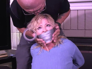 Bondage, domination and hogtie for seyx blonde with big boobs