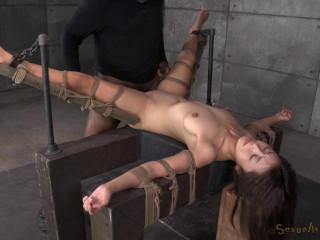 Lil' Japanese slut Marica Hase roughly fucked in stringent bondage, ejaculates rock-hard and fast! (2014)