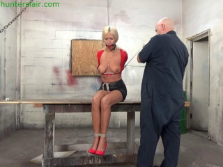 Amanda Foxx - Busty blond Milf hogtied & with her tits brutally bound