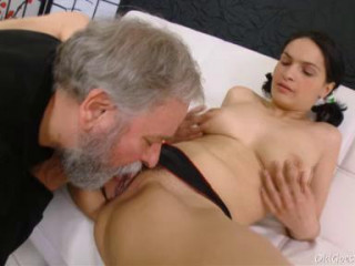 Diana moans as this grey haired guys gobbles her youthful hairy pussy.