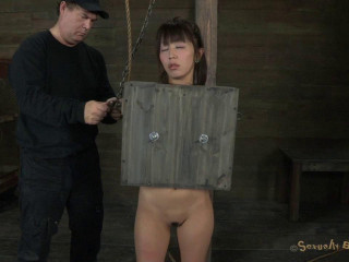 Cute innocent Japanese girl boxed