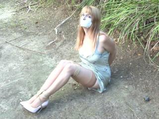 Lorelei Hogtied in her Slip in the Dirt