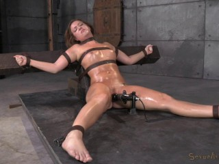 Maddy OReilly gets restrained and throatboarded by 2 huge cocks , HD 720p