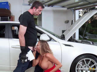 Sexy Blonde Girl In Red And The Guy Mechanic