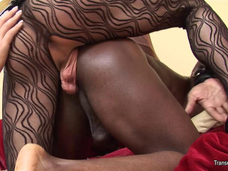She-male Dominatrix with another shemale and ebony gimp dude