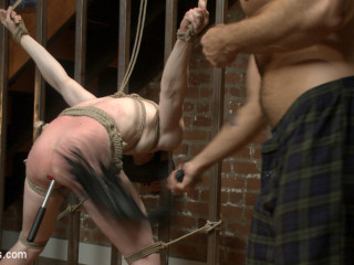 Bound missionary gets split gaping with dual handballing & sounding