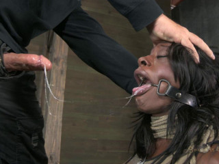 Ashley Starr bound, skull fucked, made to cum with electro-hitachi and cock!