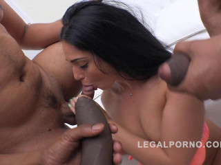 Hard interracial gangbang with double anal for beauty Sasha Panther