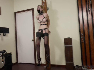 Super bondage, suspension and hogtie for young model