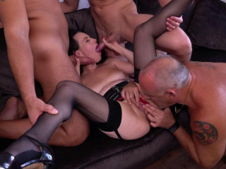 busty brunette milf fucked by several cocks hd