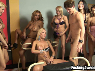 Hot Dude Gangbanged By 10 Sexy Trannies