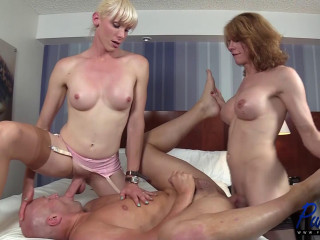 Delia & Staci work their enormous cocks