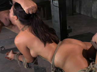 Ava Dalush corded down on romping machine,