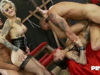 Gorgeous Tattooed Nasty Girls Take Cocks In All Her Holes
