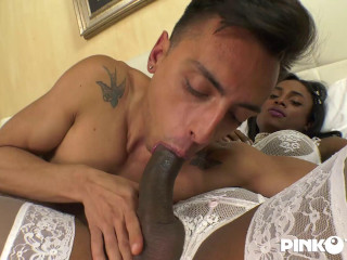 Kiara With Her Cock Opens Her Boyfriend'S Ass And Mouth