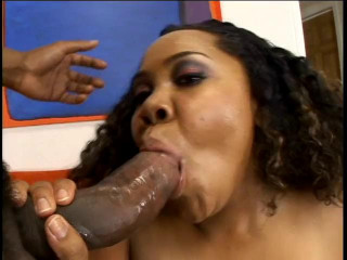 XXL ass lush dark-hued tasted big black cock at couch