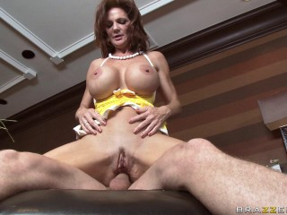 Huge-titted Ginger-haired Chick Heads To The One Guy's Uber-cute Immense Mansion