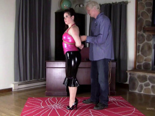 Jasmin Jai Pink and Black Latex Hogtie