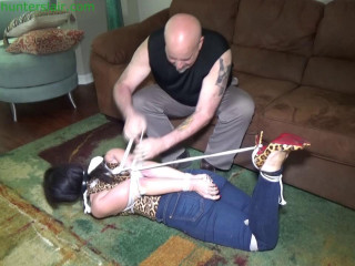 Gorgeous MILF wife brutally gagged & hogtied