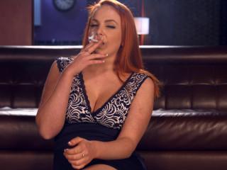 Kara Carter smoking all milky 100s with lots of suspending (2016)