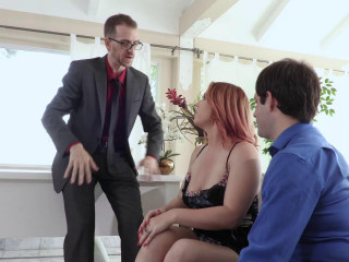 Lovely Redhead Edyn Blair Enjoys a Bisexual Threesome with Two Studs on the Couch