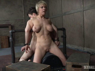 Bonnie Day & Dee Williams both bound and spunking on a sybian saddle while aggressively face fucked!